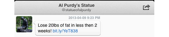 Spam from Al Purdy